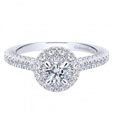 14k White Gold Diamond Double Halo Engagement Ring