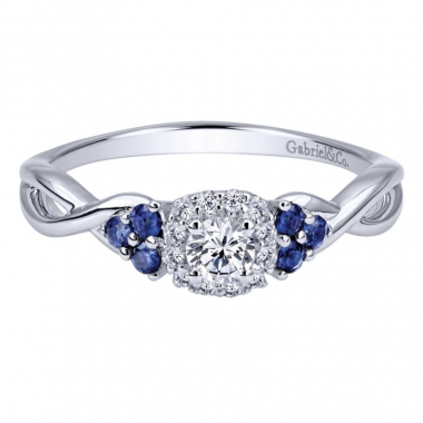 14k White Gold Diamond Halo and Sapphire Twist Style Engagement Ring