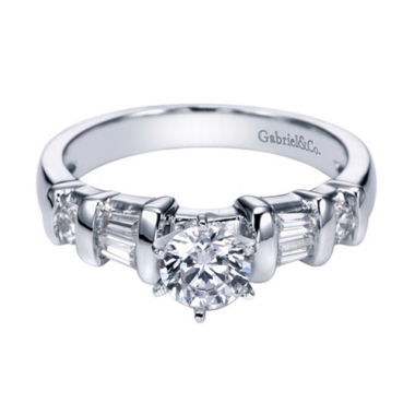14K White Gold Baguette and Round Engagement Ring