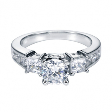 14K White Gold Princess and Round Engagement Ring