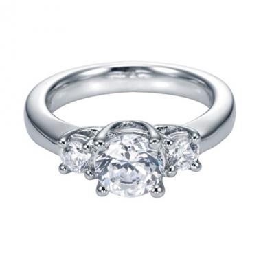 14K White Gold 3-Stone Diamond Engagement Ring