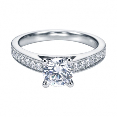 14K White Gold Cathedral Diamond Engagement Ring