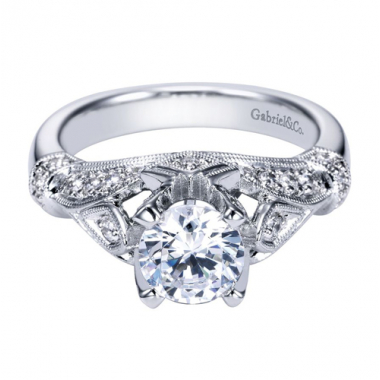 14K White Gold Carved Pave Diamond Engagement Ring