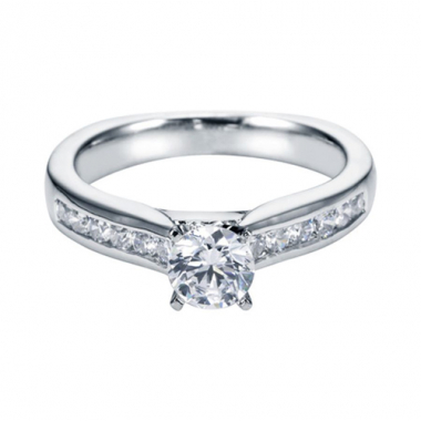 14K White Gold Channel Cathedral Engagement Ring