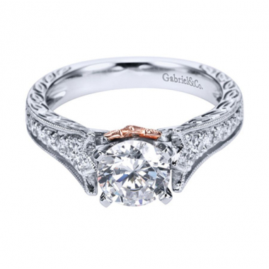 14K White and Rose Gold Cathedral Engagement Ring