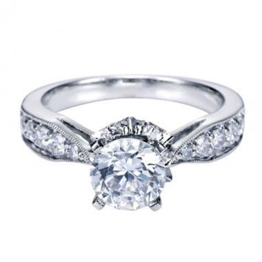 14K White Gold Carved Diamond Engagement Ring