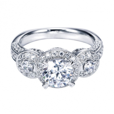 14K White Gold Carved Pave Halo Engagement Ring