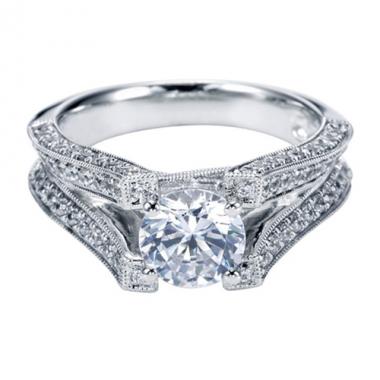 14K White Gold Knife-Edge Pave Engagement Ring