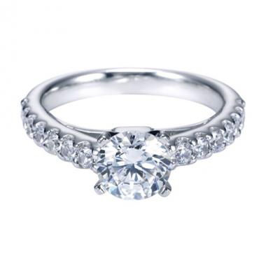 14K White Gold Rounded Engagement Ring