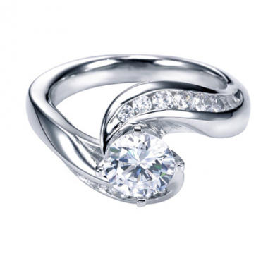 14K White Gold Channel Set Round Engagement Ring