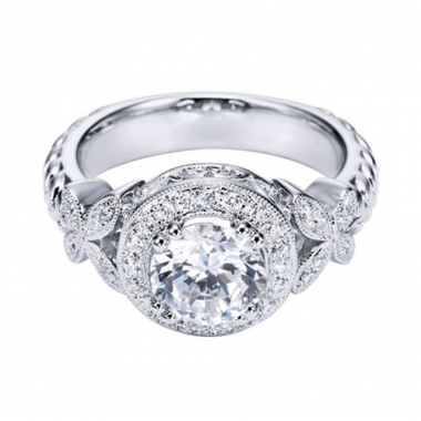 18K White Gold Vintage Halo Engagement Ring