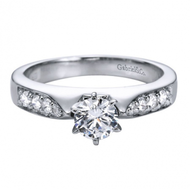 14K White Gold Round Channel Engagement Ring