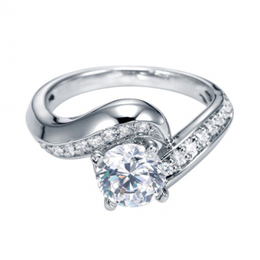 14K White Gold Channel Bypass Engagement Ring