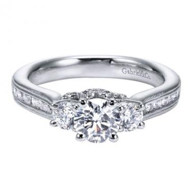 14K White Gold Filigree & 3-Stone Engagement Ring