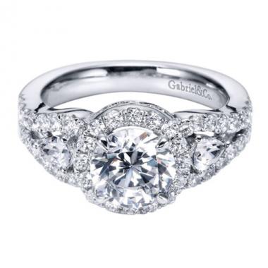 14K White Gold Halo 3-Stone Engagement Ring