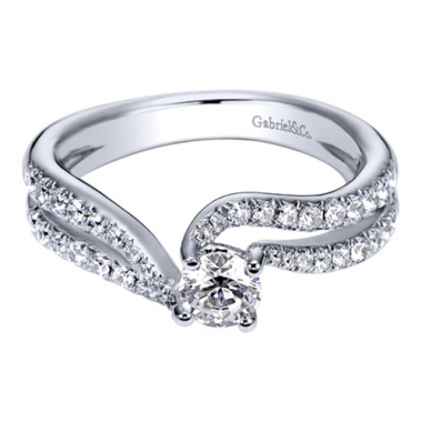 14K White Gold Double Bypass Engagement Ring