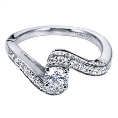 14K White Gold Bypass Diamond Engagement Ring