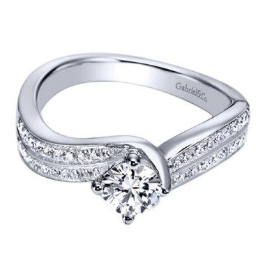 14K White Gold Double Row Bypass Engagement Ring