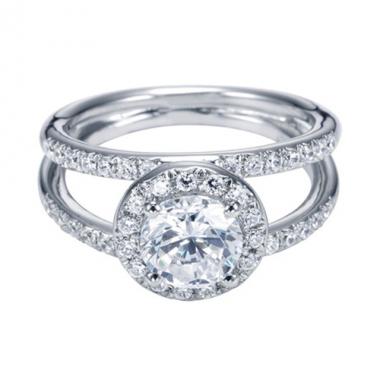 14K White Gold Split Shank Halo Engagement Ring