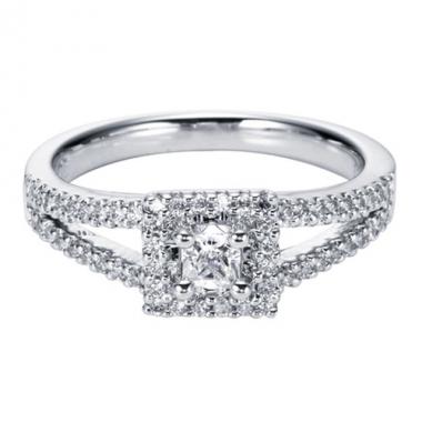 14K White Gold Square Halo Engagement Ring