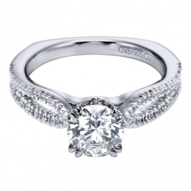 18K White Gold Cathedral Engagement Ring