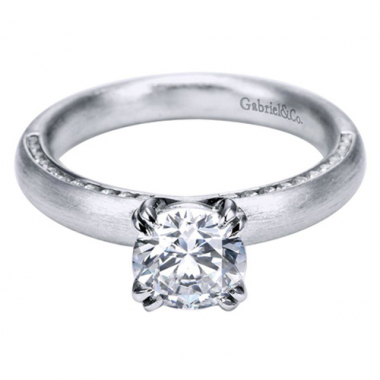 18K White Gold Channel Straight Engagement Ring