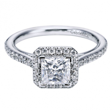 18K White Gold Pave Square Halo Engagement Ring