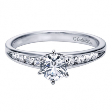 14K White Gold Cathedral Engagement Ring