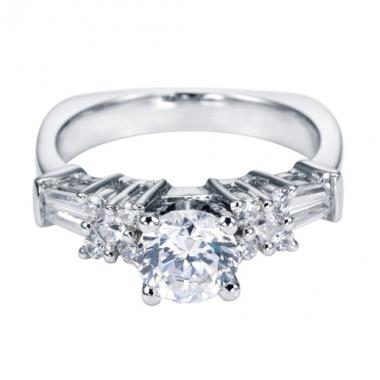 14K White Gold Cluster Engagement Ring