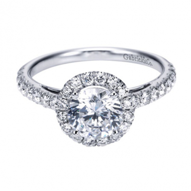 14K White Gold Cathedral Halo Engagement Ring