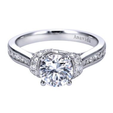 18K White Gold Pave Cathedral Engagement Ring