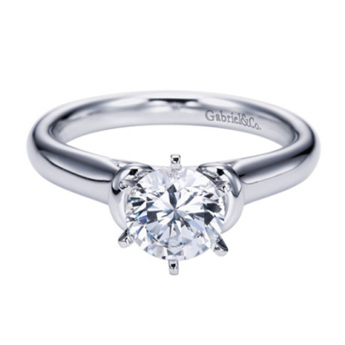 14K White Gold Rounded Solitaire Engagement Ring
