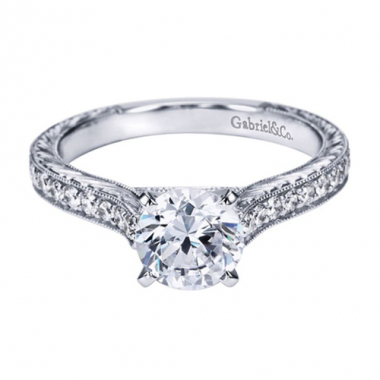 14K White Gold Carved Cathedral Engagement Ring