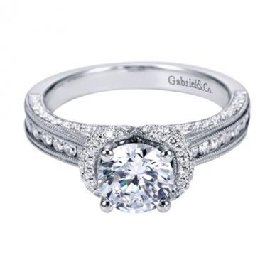 14K White Gold Milgrain Detailed Engagement Ring