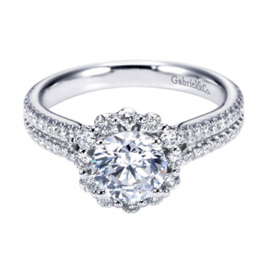 14K White Gold Double Row Halo Engagement Ring