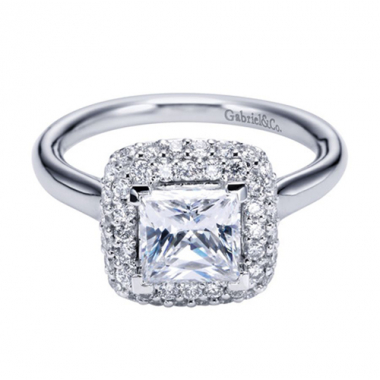 14K White Gold Double Square Halo Engagement Ring