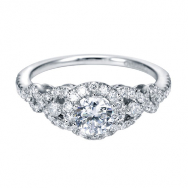 14K White Gold Carved Round Halo Engagement Ring