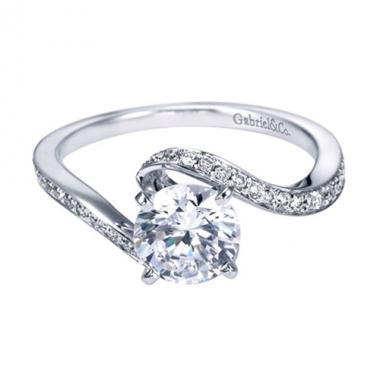 14K White Gold Swirl Bypass Engagement Ring