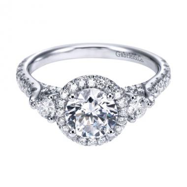 14K White Gold Ornate 3-Stone Halo Engagement Ring
