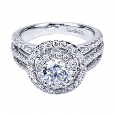 14K White Gold Triple Row Halo Engagement Ring