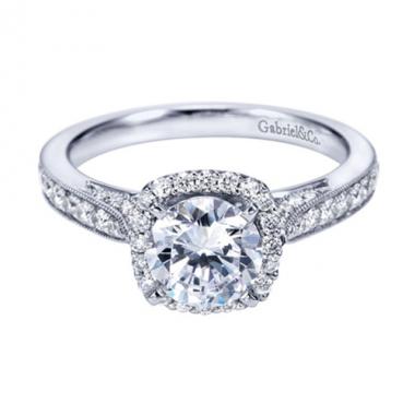 14K White Gold Halo Filigree Crown Engagement Ring