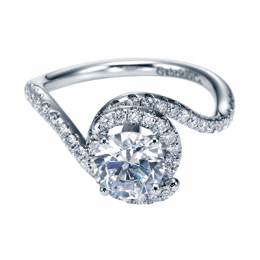 14K White Gold Bypass Prong Set Engagement Ring