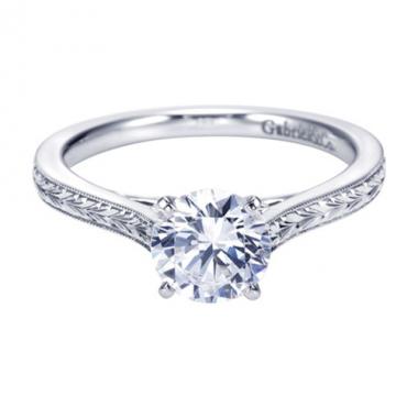 14K White Gold Filigree Solitaire Engagement Ring