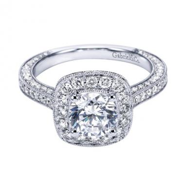 14K White Gold Ornate Pave Halo Engagement Ring