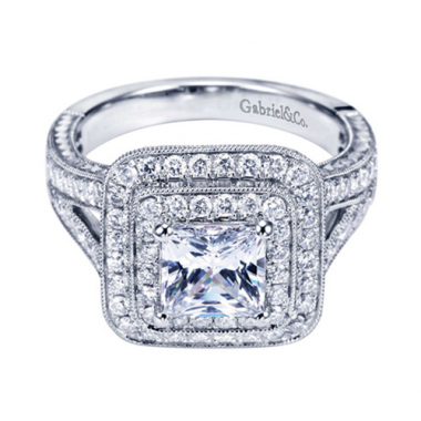 14K White Gold Square Double Halo Engagement Ring