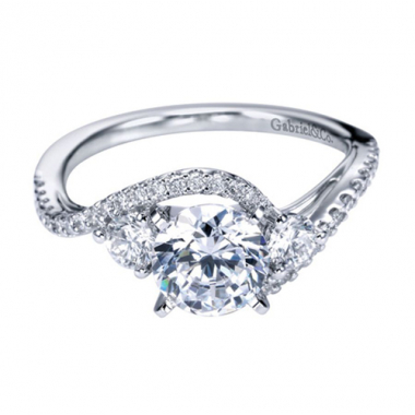 14K White Gold 3-Stone Bypass Engagement Ring