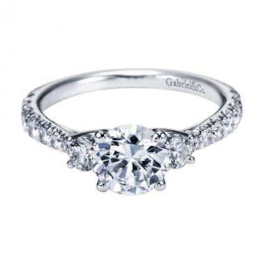 14K White Gold 3-Stone Trellis Engagement Ring