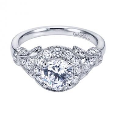 14K White Gold Carved Halo Diamond Engagement Ring