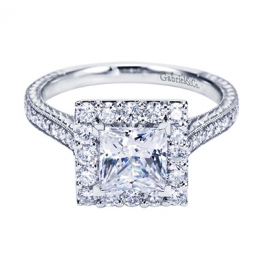 14K White Gold Carved Square Halo Engagement Ring
