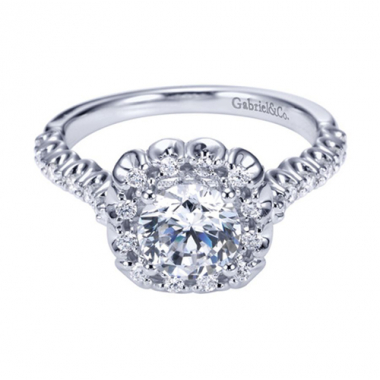14K White Gold Carved Halo Engagement Ring